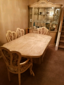 Solid Dining Table Set + Buffet & Hutch