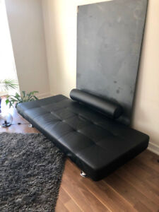 Modern Adjustable Black Leather Sofabed - Excellent Condition