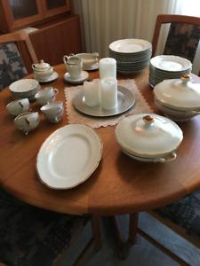 Bavarian German Gold Trim Scallop Edge Porcelain Dish set