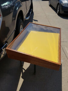 LARGE RED MAHOGANY DISPLAY CASE WITH CLASP FOR LOCKING