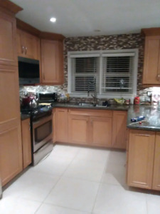 Beech kitchen cabinets including counters
