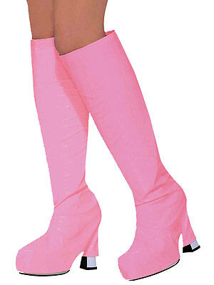 60s 70s Go Go Boot Top Covers Pink Mod Girl Retro Hippy Fancy Dress Accessory