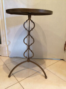 Two modern iron/glass end tables $40 each both for $70
