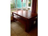 Beautiful extendable CREATIONS dining table with benches