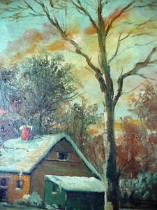 "Antique Early French Artist Paul Welsch ""Paysage d'Hiver"" 1927 Stratford Kitchener Area image 5"
