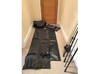 Fishing kit (rod bag, 2x rods, 2x reels, bite alarm)