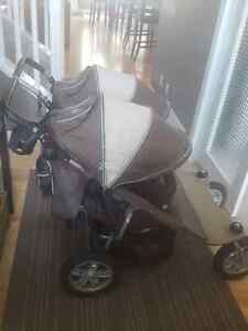 Valco Tri Mode double stroller with Graco car seat adapter