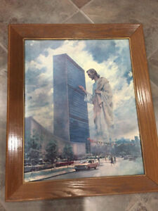 Vintage Painting Of Giant Jesus Knocking On The UN Window
