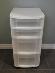 Plastic storage container on wheels