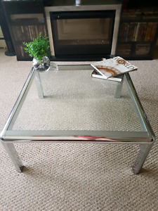 Glass top coffee table with chrome legs OBO