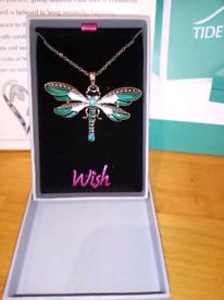 Wish jewellery blue tonal dragonfly necklace