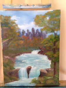 Oil base waterfall painting