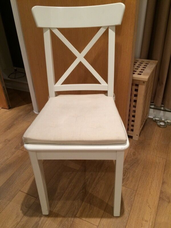 White Ikea Ingolf Chair With Seat Cushion In London