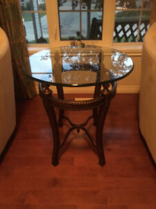 GLASS COFFEE AND END TABLE