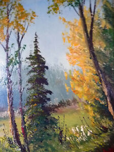 """Oil Painting by Listed Artist Paul Hyttinen """"A Forest Path"""" 1950 Stratford Kitchener Area image 9"""