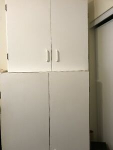 Two Piece White Cupboard Top and Bottom