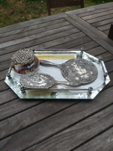 Vintage 5 piece Silver Plated Brush and Comb Set