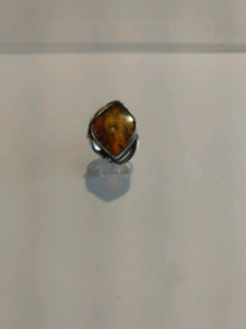 Prehistoric baltic amber ring with sterling silver