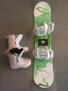 Girls snowboard and boots