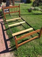 Table chairs and bed frame