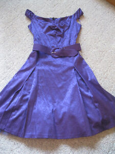 Off-the shoujlder, retro-look purple satin belted gown