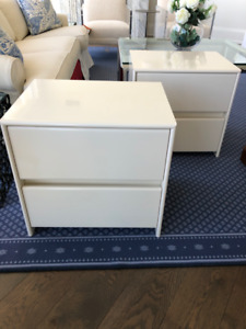 Matching Modern Off White Lacquer Night Stands