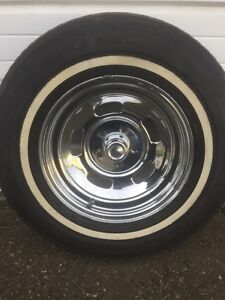 """4 - Chrome slotted 15""""x6 rims and tires"""