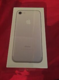 Brand new iPhone 7, silver, 32gb. Still sealed in box.
