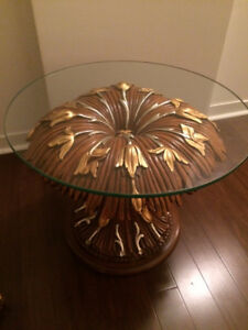Italian Walnut White/Yellow Gold Inlaid Asnaghi Glass Table