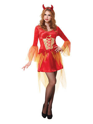 Adult Halloween Fancy Dress Party Sexy Devil Maiden Women Lace-Up Costume Red UK](Party Halloween Costumes Uk)
