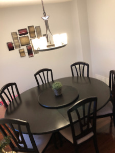 DEAL - 9 Piece Extendable Wood Dining Table/Set - Canadian Made