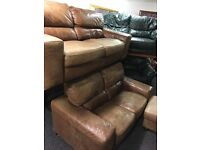 Leather 3 seater 2 seater and stool free delivery