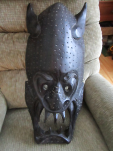 Hand Carved Black Wooden Mask from the Phillipines