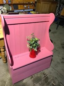 Painted pink pew