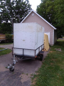 4X 8 foot Enclosed Utility Trailer, Newly Safetied