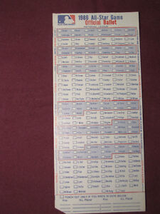 8 Baseball All-Star game ballots - unmarked, mint ($3.50 each)*