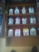 Set of 12 glass spice houses with glass shelf from Avon