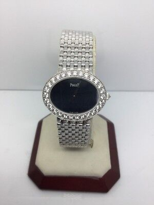 "PIAGET LIMELIGHT ""JACKIE O"" 18K WHITE GOLD CHIC LADIES WATCH W/ DIAMONDS"