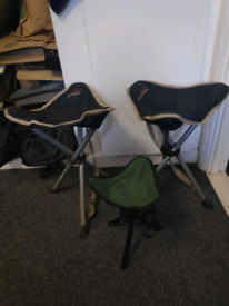 3 compact camping chairs stools. Small and convenient.