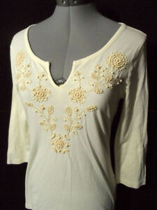Women's Old Navy beige beaded blouse shirt Size Small Petite London Ontario image 1