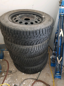 """15"""" Snow tires and rims (4x114.3 bolt pattern)"""