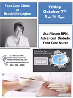 Mobile Medical Foot Care Clinic  Brockville Legion Friday Octobe