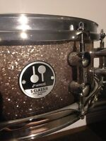 Sonor snare, pearl double kick, k serie cymbals