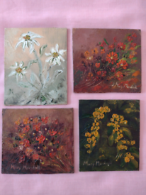 4 Very Small Signed Flower Oil Paintings on board! Can be viewed!!