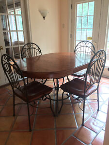 5 Piece Oak/Iron-based Dining Table and Chairs.