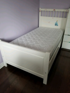 Wooden single bed frame with matching matress