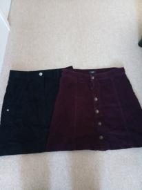 2 x cord skirts. Next & Tesco. Size 6
