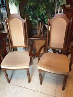 Golden beige brown wooden dining room accent chairs