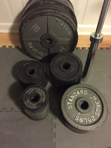 Olympic plates 575lbs with bar included