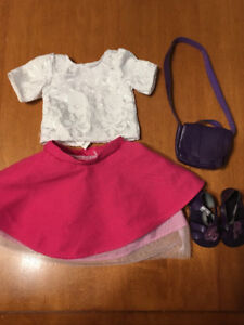 """Journey girl 18"""" doll outfit pink skirt white top"""